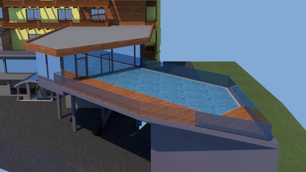 Computer Render schwebender Pool